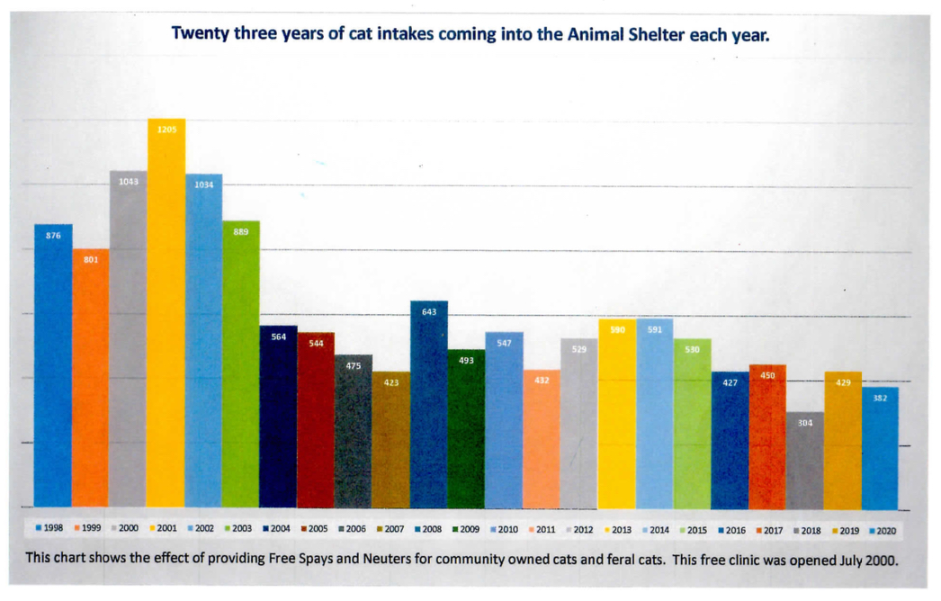 A Graph That Shows Twenty-Three Years of Cats Coming into Animal Shelters