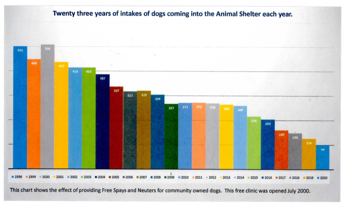 A Graph That Shows Twenty-Three Years of Dogs Coming into Animal Shelters